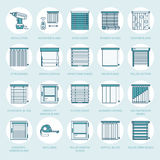 Window blinds, shades line icons. Various room darkening decoration, roller shutters, roman curtains, horizontal and Royalty Free Stock Photography