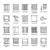Window blinds, shades line icons. Various room darkening decoration, roller shutters, roman curtains, horizontal and Stock Image