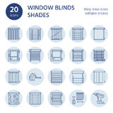 Window blinds, shades line icons. Various room darkening decoration, roller shutters, roman curtains, horizontal and Stock Images