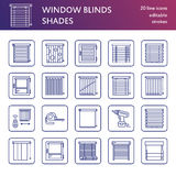 Window blinds, shades line icons. Various room darkening decoration, roller shutters, roman curtains, horizontal and Royalty Free Stock Photos