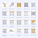 Window blinds, shades line icons. Various room darkening decoration, roller shutters, roman curtains, horizontal and Stock Photography