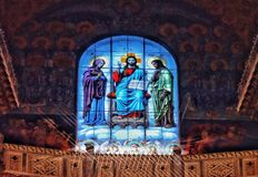 Religion window light textured indoors. Window blue color light religion stained-glass church architecture detail indoors Stock Photo