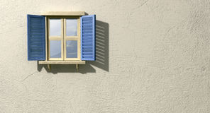 Window With Blue Shutters Front. A regular wooden framed window with blue shutters on an  plastered wall Stock Image