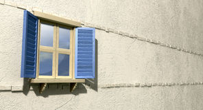 Window With Blue Shutters Perspective. A regular wooden framed window with blue shutters on an  plastered wall Royalty Free Stock Photos