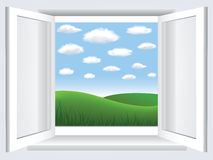Window with  blue sky, clouds and green hiil Stock Photography
