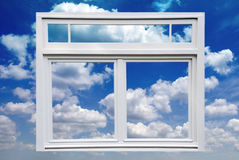 Window and Blue Sky. A white window on a sunny bright blue cloudy sky to symbolize looking into the future and seeing good things ahead stock image