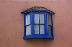 Window. Blue trimmed bay window frame Royalty Free Stock Photos