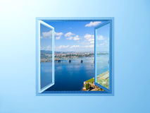 Window on the blue wall on river view. Window on the blue wall on river and sky view Stock Images