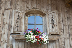 Window with blooming flowers in Austria Royalty Free Stock Photos