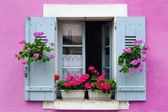Window box flower arrangement, France Royalty Free Stock Images