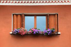 Window box flower arrangement Stock Photo