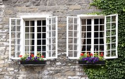 Window Boxes Old Montreal Stock Images