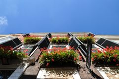 Window boxes and wooden shutters. stock photo