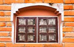 Window on a brick wall. Royalty Free Stock Images