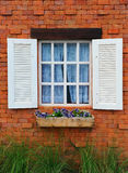 Window and brick wall Stock Photo