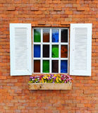 Window and brick wall. Old style royalty free stock image