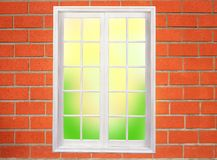 Window on the brick wall Stock Images