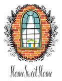 Window in a brick wall with a floral vignette and calligraphic w Royalty Free Stock Image