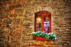 Window in a brick wall in hdr Royalty Free Stock Images