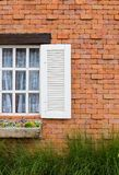 Window with brick wall red. Stock Image