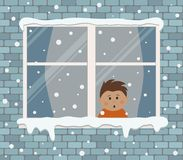 Window on a brick wall on a snowy day. A little boy in the room is surprised, looking at the snow vector illustration