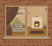 Window on the brick wall. View of the living room from the street side stock illustration