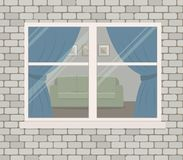Window on the brick wall. View of the living room from the street side royalty free illustration