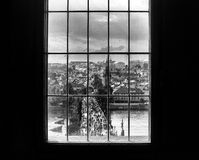 Window on the bridge. View from the Old town bridge tower, on the Charles Bridge in Prague - Czech Republic Royalty Free Stock Photo
