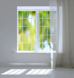 Window in a bright white room. Royalty Free Stock Photography