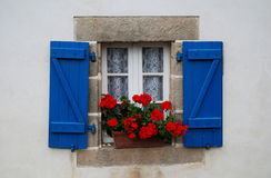 Window in Brittany, France. House in the village Goulien in France Royalty Free Stock Photo