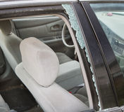 Window broken due to auto accident Royalty Free Stock Photography