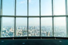 Window of building with Tokyo Tower background. Glass window of building with Tokyo Tower background Stock Images