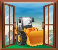 A window with a bulldozer Royalty Free Stock Images