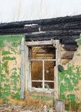 Window of burned abandoned house Stock Images