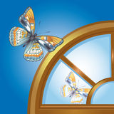 Window_butterfly Royalty Free Stock Photography