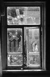 Window bw. Broken window glued tape bw Stock Photos