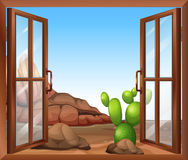A window with a cactus Stock Images