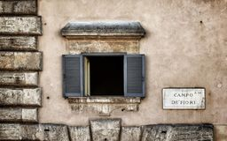 Window in the campo de fiori square stock photos