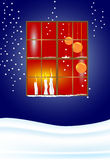Window with candels. Christmas eve - Window with candles Royalty Free Stock Images