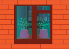 Window. Cartoon style red brick wall and part of the room with bookshelf, table and green plants behind the window royalty free illustration