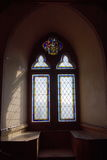 Window in castle interior. Window in old castle room, inside, vertical Royalty Free Stock Photography