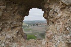 Window in the castle of San Esteban de Gormaz Stock Images