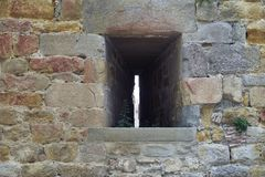 Window in a castle. Cloudy day stock photography