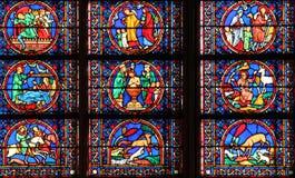 Window in Cathedral Notre Dame de Paris Stock Images