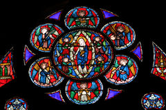 Window in Cathedral Notre Dame de Paris Royalty Free Stock Photos