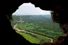 Window Cave. Landscape view  from a Cave to the outside world Stock Images