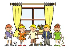 Window and children Royalty Free Stock Photos