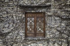 Chinese window with overgrown creepers Stock Image