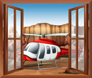 A window with a chopper outside royalty free illustration
