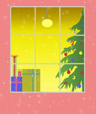 Window with christmas decoration Royalty Free Stock Photography